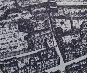 Die Nachträge auf dem Falda-Plan zeigen ab 1730 das Teatro Alibert/ Teatro delle Dame samt Überführung über die Via Margutta