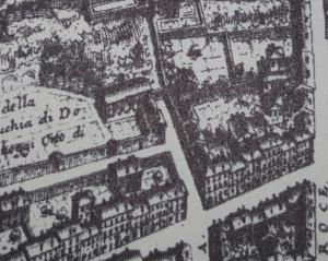 Der erste Perspektivenplan von Falda 1667 zeigt noch keine Bebauung auf der Ecke Via Margutta/ Via Alibert