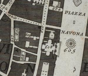 Der Stadtplan von Giambattista Nolli (1748) zeigt den Grundriss des Teatro die Granari (618) und des Teatro della Pace (611) in unmittelbarer Nachbarschaft
